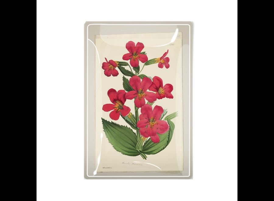 """Pinks Flower Decoupage Glass Tray  3""""x 5"""""""