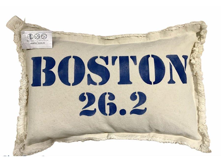 """Boston 26.2 Marathon Lumbar Pillow Natural 12""""x18"""""""
