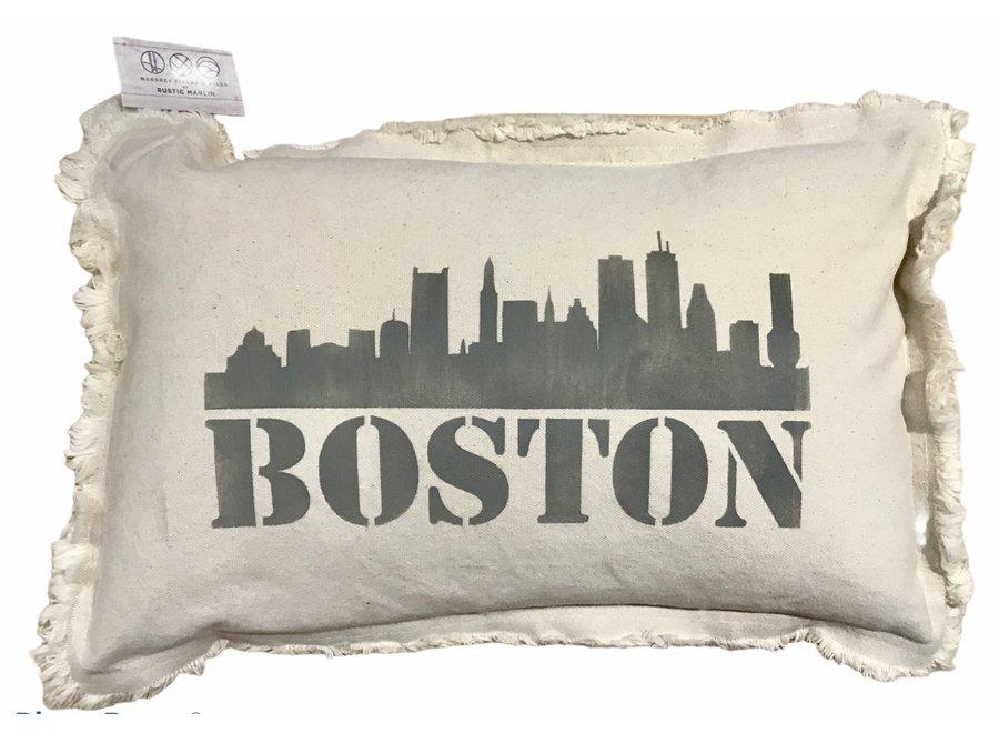 """Lumbar Pillow Boston Skyline Natural Dorian Gray 12"""" x 18"""""""