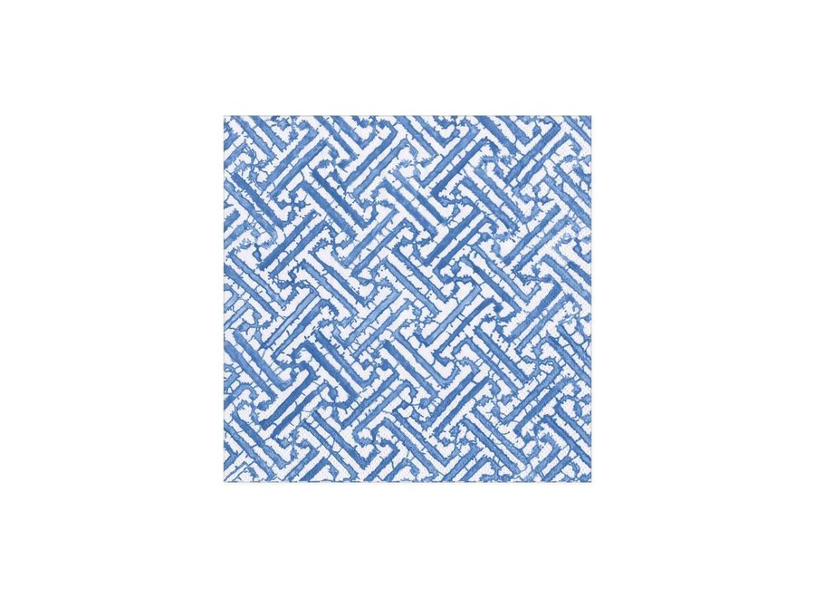 Fretwork Paper Cocktail Napkins in Blue - 20 Per Package