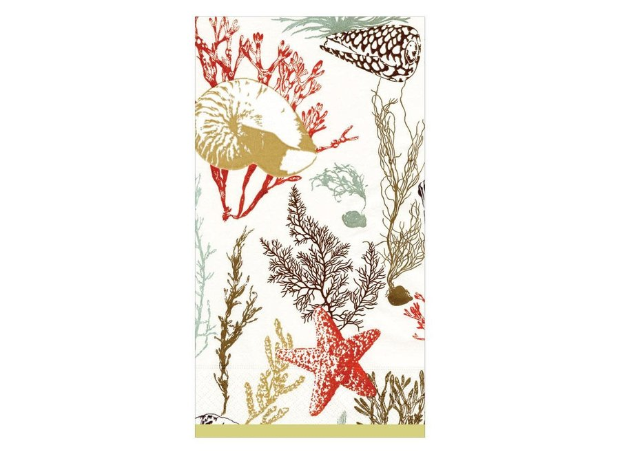 Marine Study Paper Guest Towel Napkins in Ivory - 15 Per Package