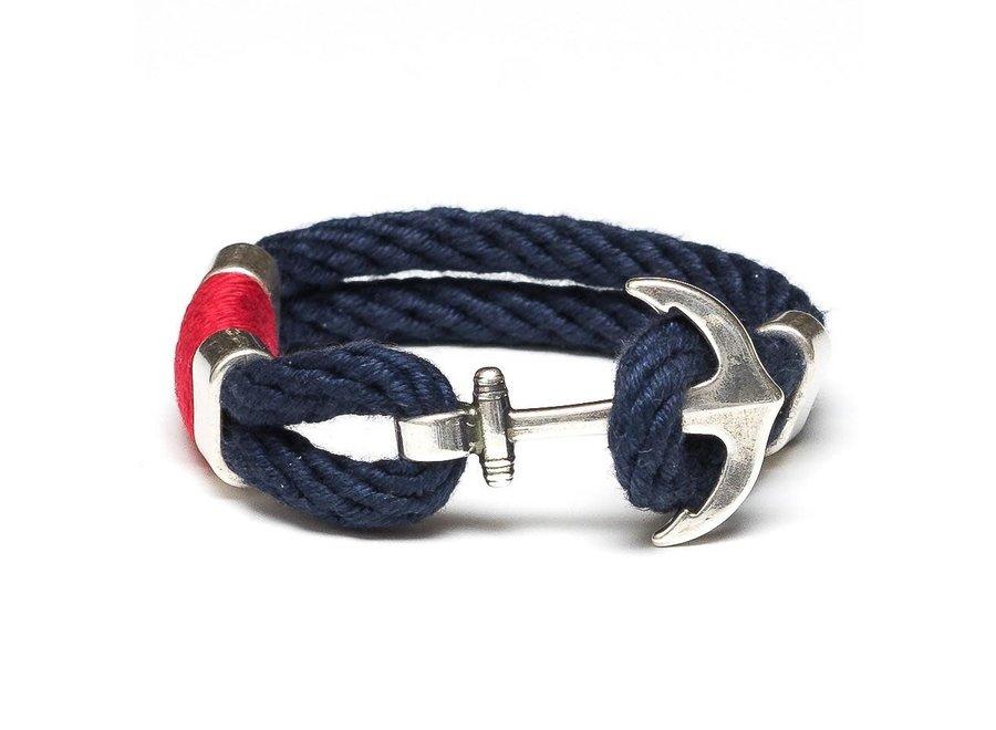 Waverly Bracelet Silver - Navy/Red/Silver