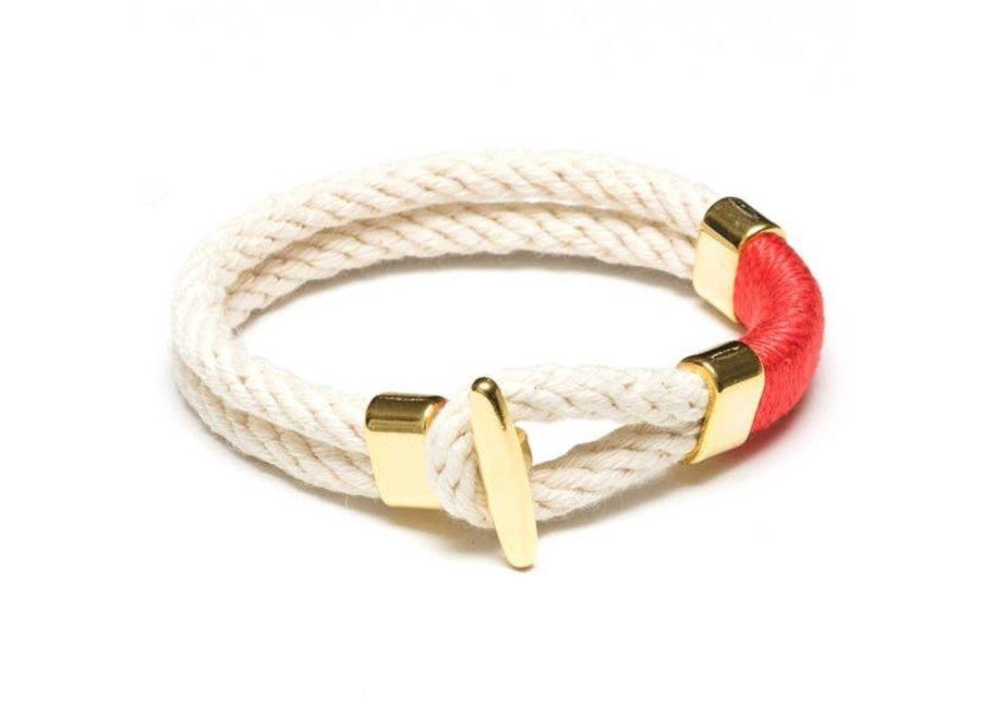 Cambridge Bracelet - Ivory/Coral/Gold