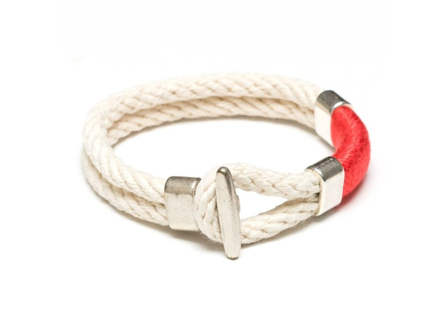 Cambridge Bracelet - Ivory/Coral/Silver