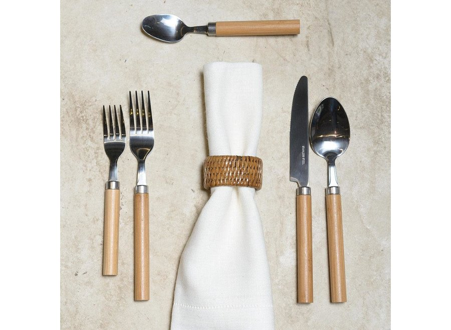 Bamboo Handle 5-Piece Stainless Steel Picnicware Set in Natural