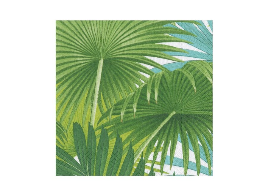 Palm Fronds Paper Luncheon Napkins in White - 20 Per Package
