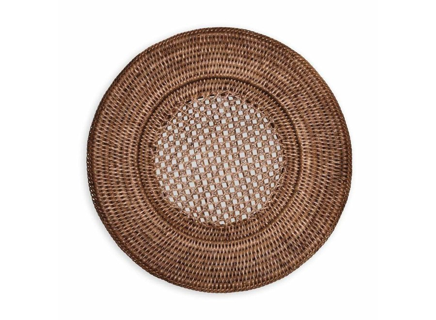 Rattan Round Plate Charger in Dark Natural - 1 Each