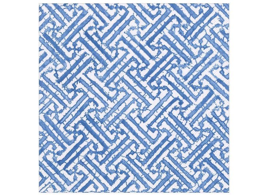 Fretwork Paper Dinner Napkins in Blue - 20 Per Package