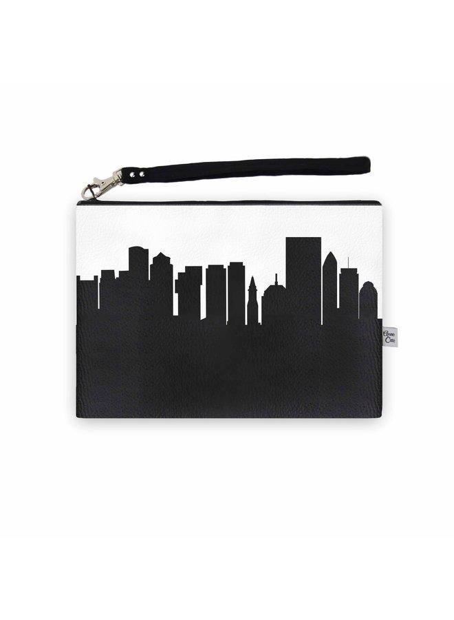 Boston MA Skyline Wristlet Clutch - Vegan Leather
