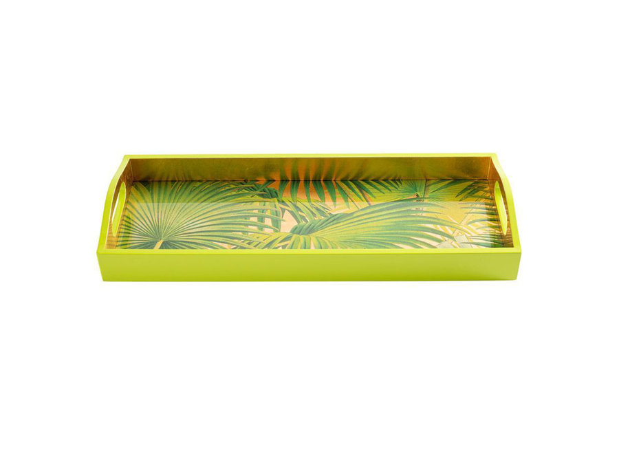 Palm Fronds Lacquer Bar Tray in Gold - 1 Each