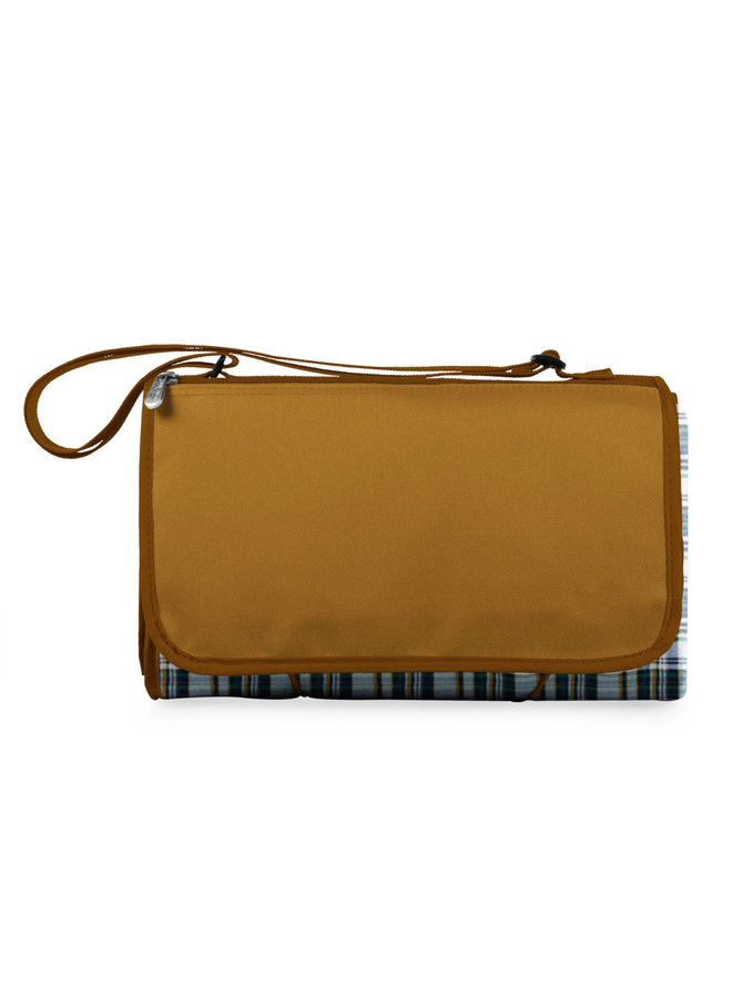 Blanket Tote Outdoor Picnic Blanket - English Plaid Pattern with Beige Flap