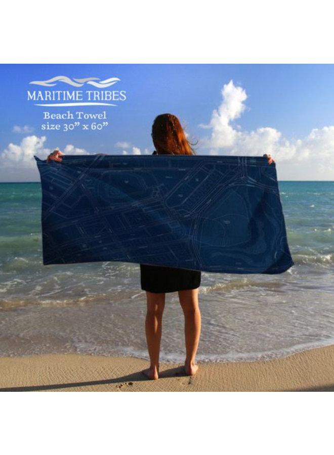 Beach Towel in Fenway Park Blue Print Map