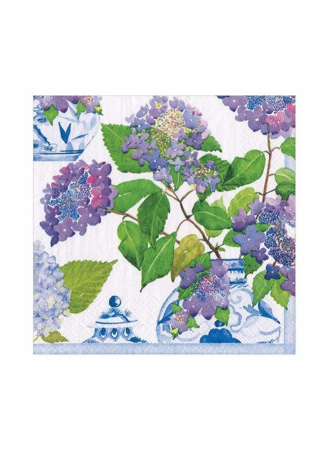 Hydrangeas and Porcelain Paper Luncheon Napkins - 20 Per Package