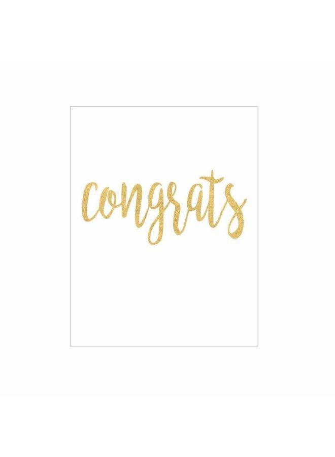 Congrats Script Gift Enclosure Cards in Gold Foil - 4 Mini Cards & 4 Envelopes