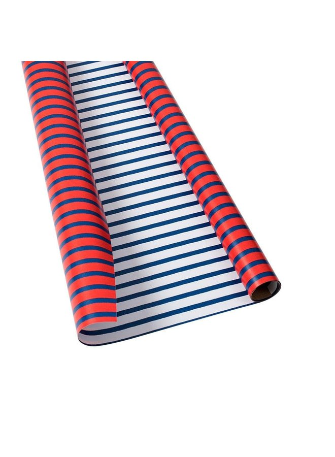 """Bretagne Reversible Gift Wrapping Paper in Red & Blue - 30"""" x 5' Roll"""