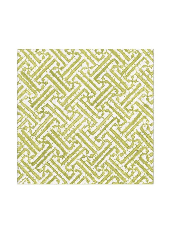 Fretwork Paper Luncheon Napkins in Moss Green - 20 Per Package