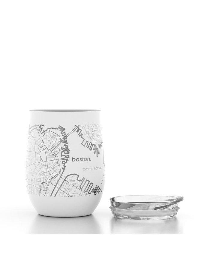 Boston MA Map 12 oz Insulated Wine Tumbler