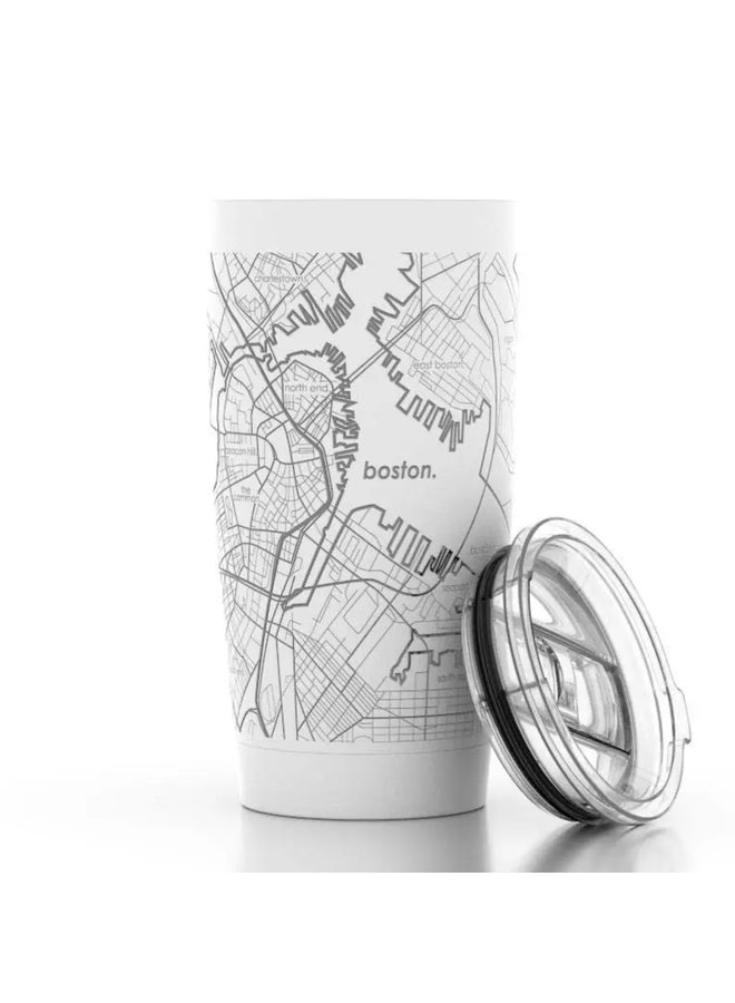 Boston MA Map 20 oz Insulated Pint Tumbler