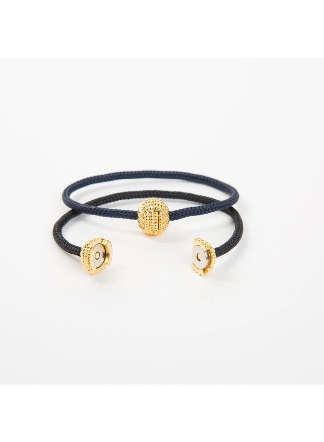 Captain's Cord Single Wrap - Navy with Gold