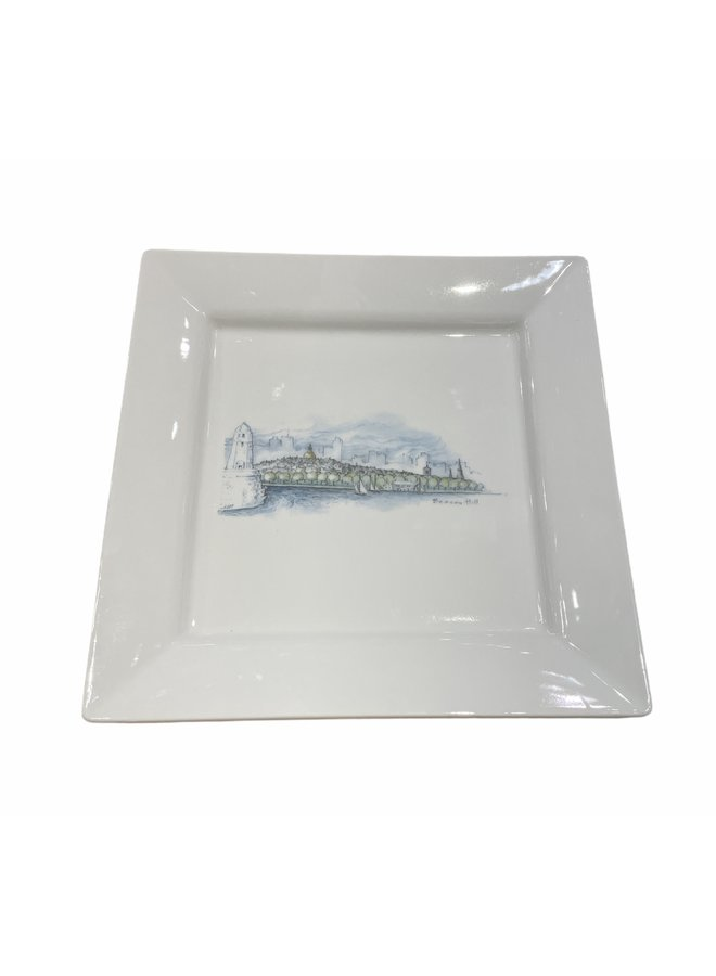 Square Porcelain Plate with Boston & Beacon Hill Skyline