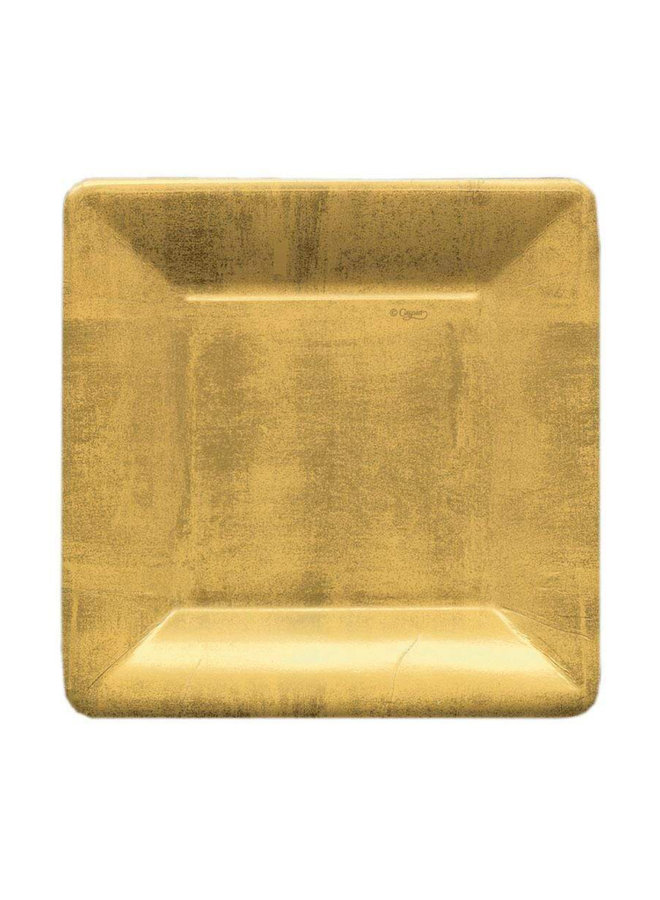 Gold Leaf Square Paper Salad & Dessert Plates - 8 Per Package