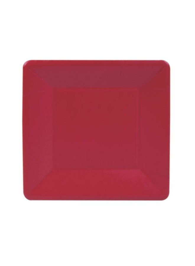 Grosgrain Square Paper Salad & Dessert Plates in Red - 8 Per Package