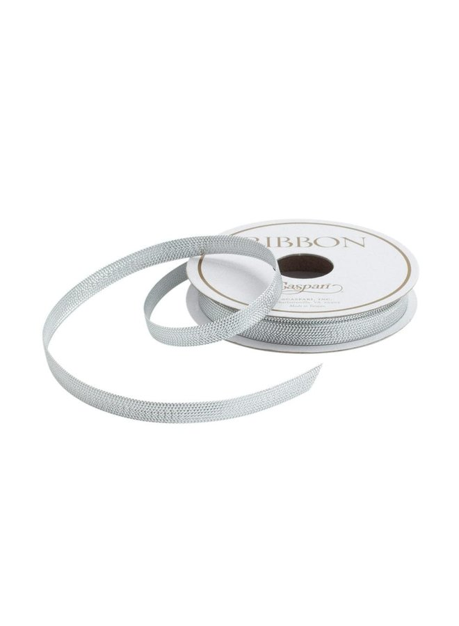 Silver Braided Tape Unwired Ribbon - 8 Yard Spool