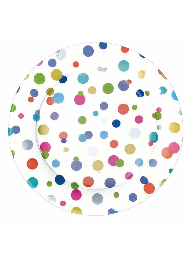 Confetti Brights Paper Dinner Plates - 8 Per Package