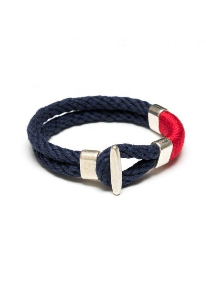 Cambridge Bracelet - Navy/Red/Silver