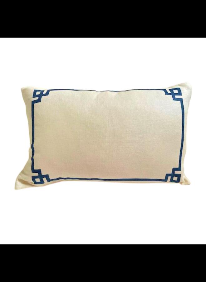 """Greek Key Pillow Mixed Natural Linen, knife edge 15""""x23"""""""