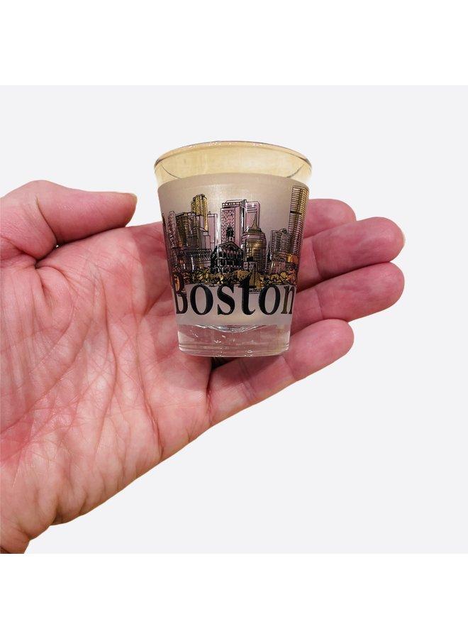 Boston Shot Glass Gold Rimmed