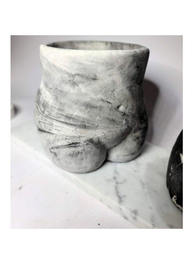 Booty Planter - Black & White Marbled