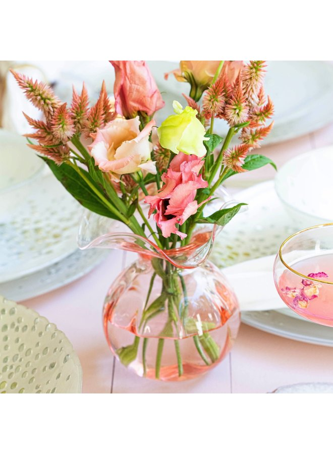 Hibiscus Glass Pink Bud Vase