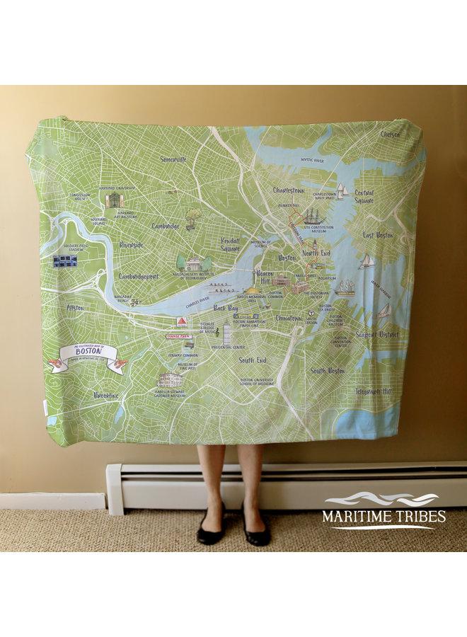 Fleece  Blanket of Boston Boston Illustrated City Map