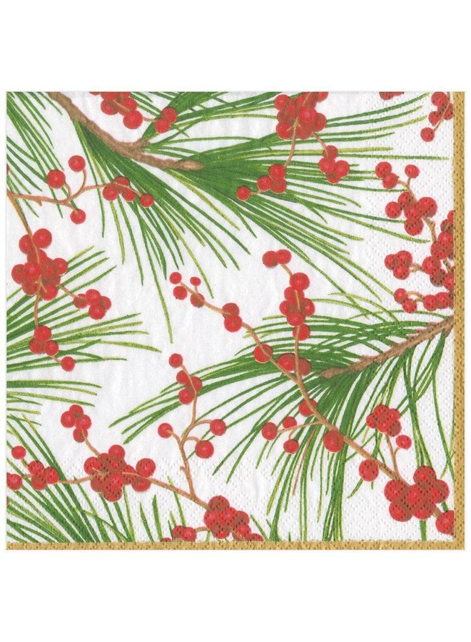 Berries and Pine Paper Dinner Napkins - 20 Per Package
