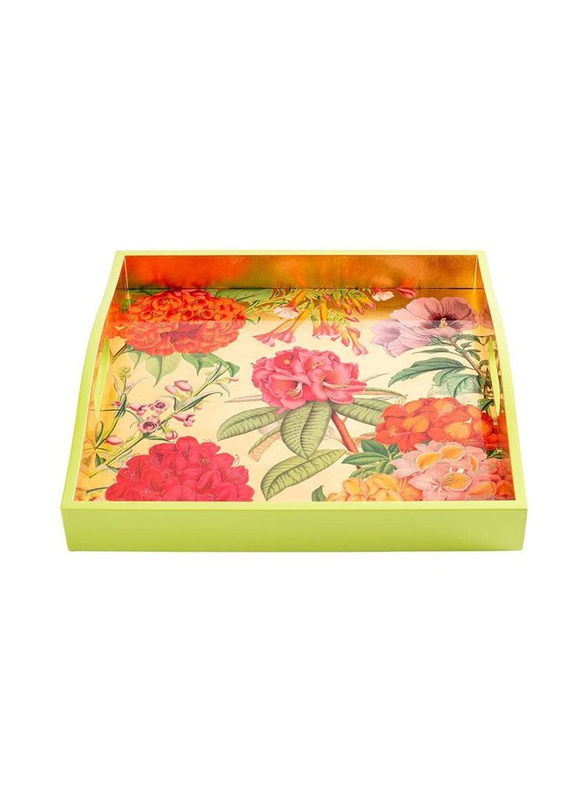 Jefferson's Garden Study Lacquer Square Tray in Gold - 1 Each