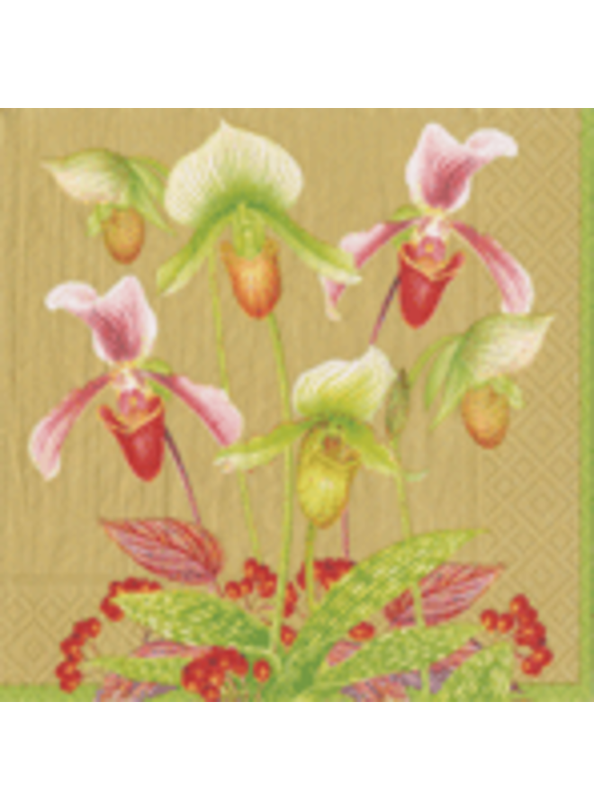 Slipper Orchid Gold Napkin Cocktail - 20 Per Package