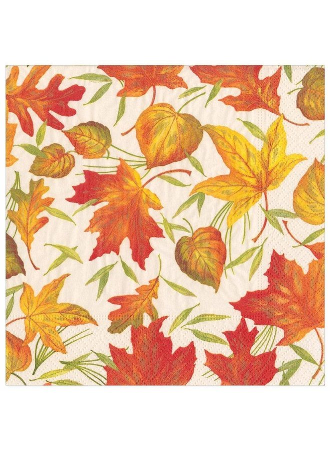 Woodland Leaves Paper Dinner Napkins in Ivory - 20 Per Package