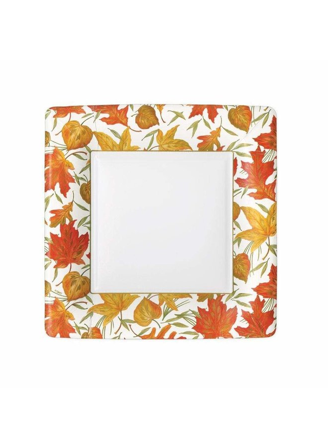 Woodland Leaves Square Paper Salad & Dessert Plates in Ivory - 8 Per Package