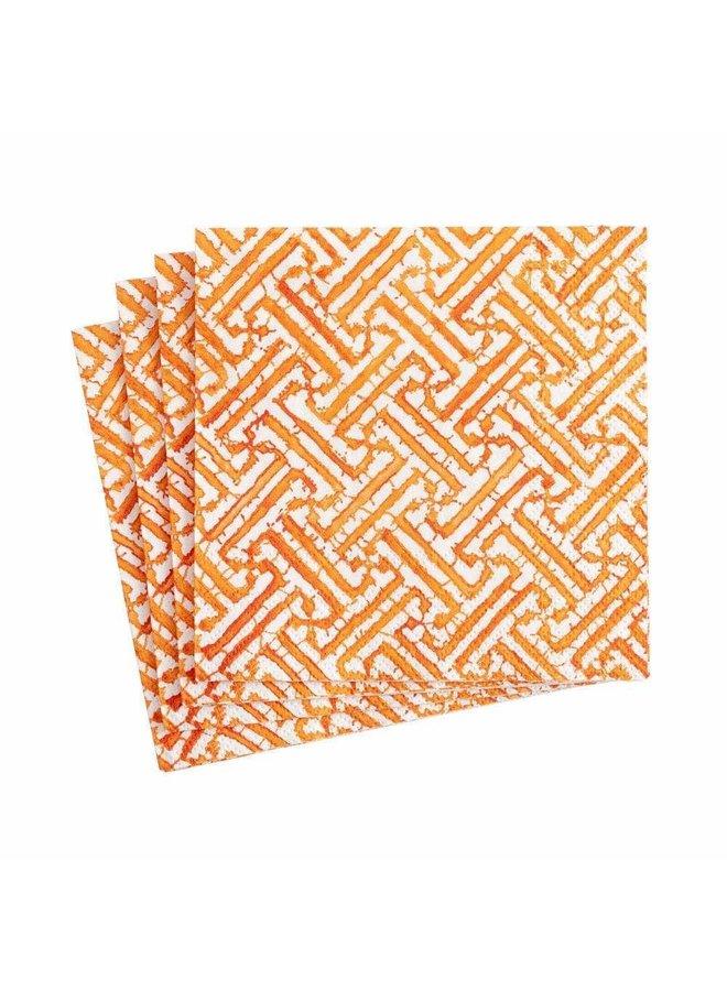 Fretwork Orange Paper Cocktail Napkins - 20 Per Package