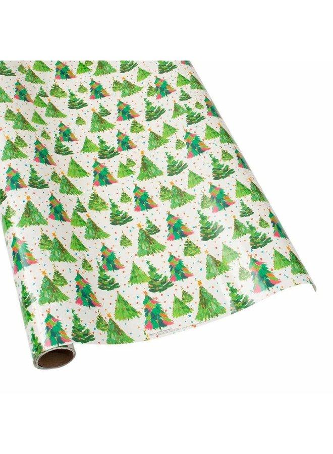 "Brushstroke Trees Gift Wrap Roll on High-Gloss Paper - 30"" x 8' Roll"