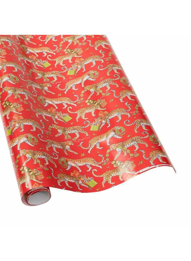 """Christmas Leopards Gift Wrapping Paper in Red - 30"""" x 8' Roll"""