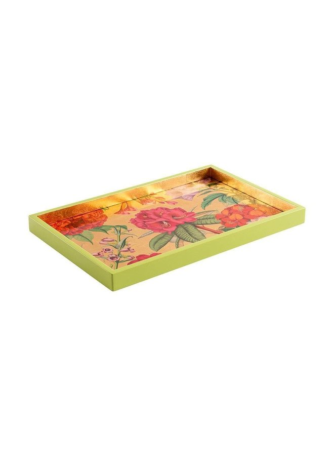 Jefferson's Garden Study Lacquer Vanity Tray in Gold - 1 Each