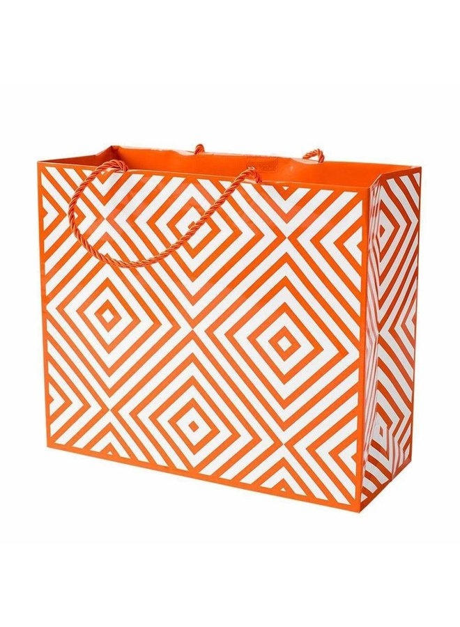 Chevron Large Gift Bag in Coral - 1 Each