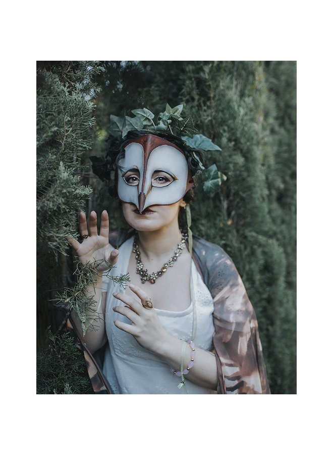 Barn Owl Fairy Mask Brown Woodland Leather Druid Autumn