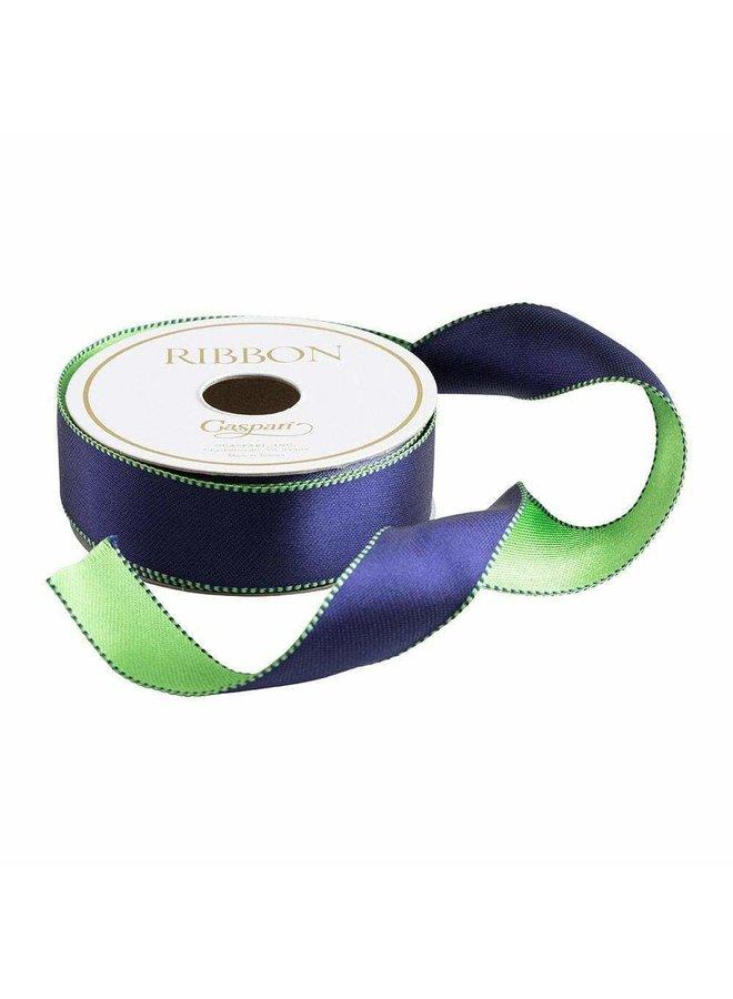 Navy & Green Reversible Satin Wired Ribbon - 10 Yard Spool