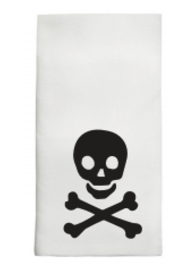 Skull & Crossbones in Black Tea Towel
