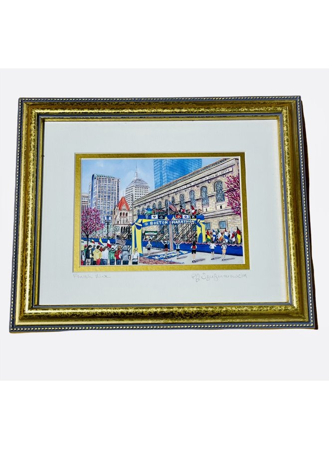 Gold Framed 8x10 Painting of Boston Marathon