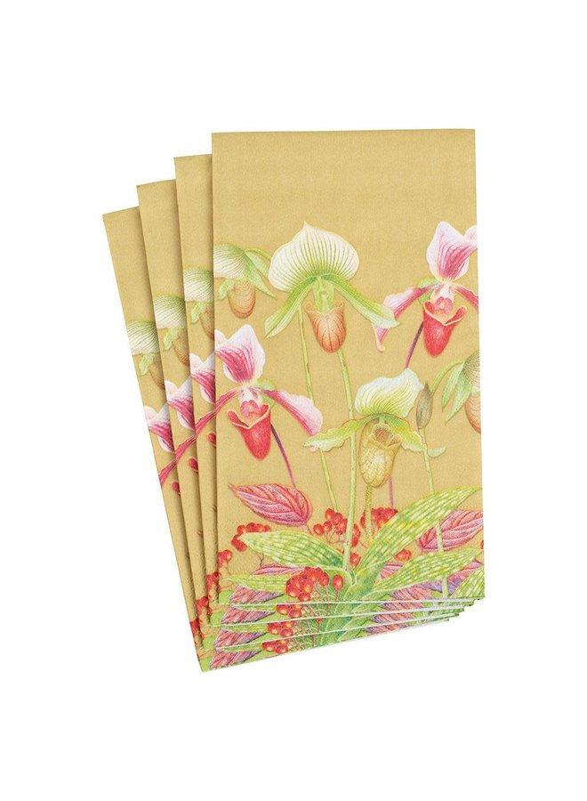 Slipper Orchid Paper Guest Towel Napkins in Gold - 15 Per Package