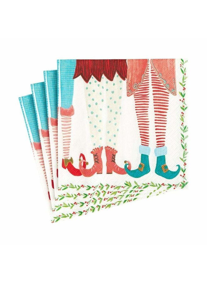 Elf Stockings Paper Cocktail Napkins - 20 Per Package